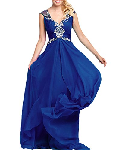 TrendProm Women's Prom Dresses V Neck A Line Chiffon&Tulle Ruched Bodice Gowns Size 6 US Dark Royal Blue