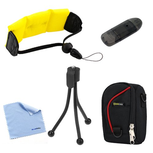 Birugear Yellow Foam Floating Arm Strap + Mini Tripod + Cleaning Cloth + Card Reader + Pouch Nylon Case For Coleman Xtreme C5Wp; Canon Powershot D20; Nikon Coolpix S31, Aw110, Aw100; Olympus Stylus Tough 8010, Tough 6020, Tough 6000 Waterproof Cameras Cam