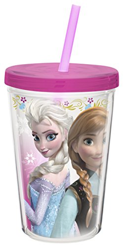 Zak! Designs Insulated Tumbler with Screw-on Lid and Straw featuring Elsa & Anna from Frozen, Break-resistant and BPA-free Plastic, 13 oz. (Cups With Lids And Straws compare prices)