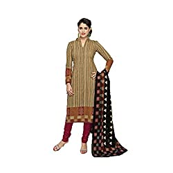 Stylish Girls Women Cotton Printed Unstitched Dress Material (SG306_Khaki_Free size)