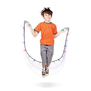 Geospace Sparkler LED Jump Rope with Kinetic-Powered Lights (Assorted Colors)