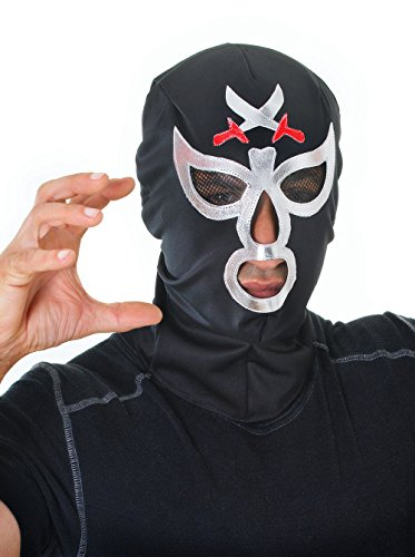 Bristol Novelty Black/Silver Macho Wrestler Mask Costume Accessories Men's
