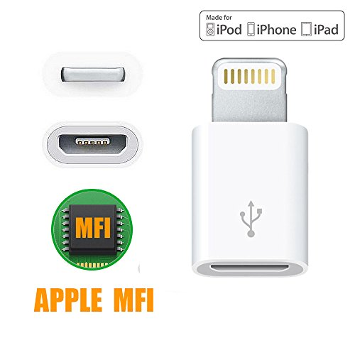 [Apple MFi Certified Chip] SMALLElectric Micro USB to 8 Pin Lightning Adapter Converter for iPhone 5 6 6s plus iPad iPod and micro usb cable, Compatible with Apple iOS all versions (Iphone 6 Micro Usb Adapter compare prices)