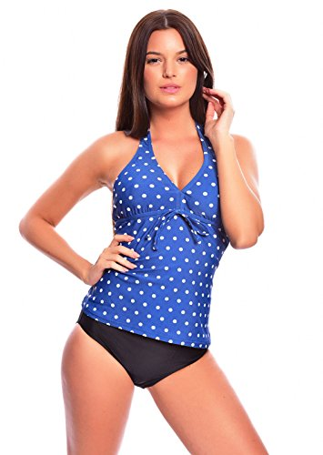 Eleganter, figurumspielender Damen Neckholder Push Up Tankini mit Slip/ Bikinihose Badeanzug 1092AS-f4393 Farbe: Blau/ weiße Punkte, Slip Schwarz, Gr. 48