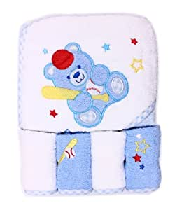 Spasilk 100% Cotton Hooded Terry Bath Towel with 4 Washcloths, Baseball Bear Blue
