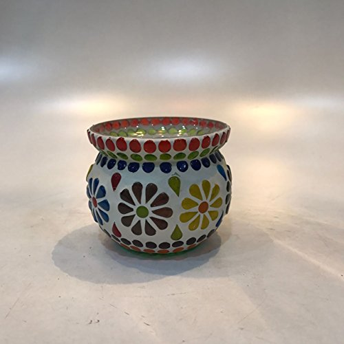 Dlite Crafts Multicolor Polka Design Home Decorative Votive Candle Holder, Set Of 2 PCs - B06XYMSBY1