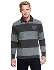 Blue Harbour Cotton Rich Cut & Sew Striped Rugby Shirt