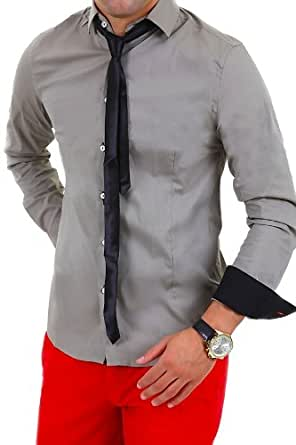 MT Styles chemise avec cravate C-12346 - Couleur : Khaki - Taille : S