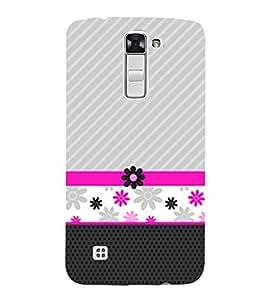 Flower Lines Pattern 3D Hard Polycarbonate Designer Back Case Cover for LG K10 4G Dual
