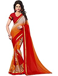 Raghavjee Designer Printed Georgette Saree With Blouse