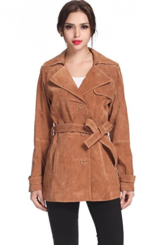 "BGSD Women's ""Beverly"" Suede Leather Trench Coat - Caramel M"