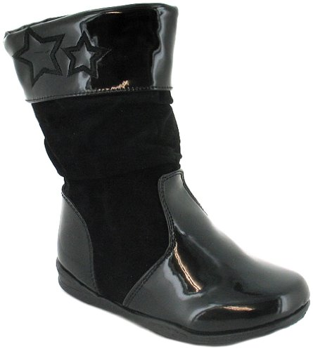 Girls/Childrens Black Patent And Microsuede Princess Stardust Boots - Black - UK 4-9