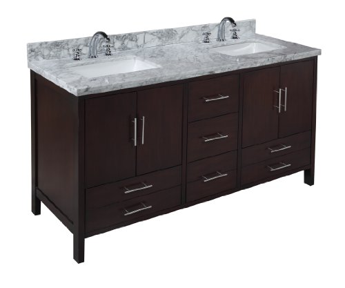 Marvelous California inch Chocolate Bathroom Vanity Carrera Chocolate Includes Soft Close Drawers Self Closing Door Hinges
