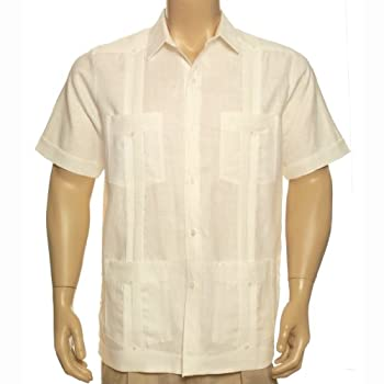 Guayabera men shirt 100% irish linen short sleeve