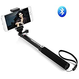 Selfie Stick, Eleckey Selfie Stick Self-portrait Monopod Bluetooth Selfie Stick with Built-In Bluetooth Remote Shutter and Universal Adjustable Holder for iPhone 6 Plus/6/5S/5/4, Android and Gopro(Longer One EK02)