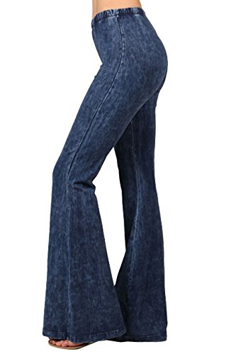 Zoozie LA Women`s Bell Bottoms High Waist Denim Colored Yoga Pants Blue Large