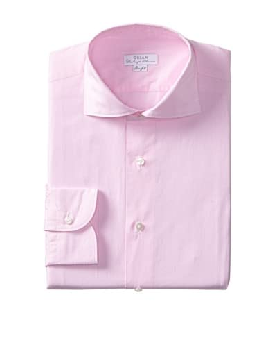 Orian Men's Slim Fit Washed Wide Spread Collar Poplin Microcheck Dress Shirt