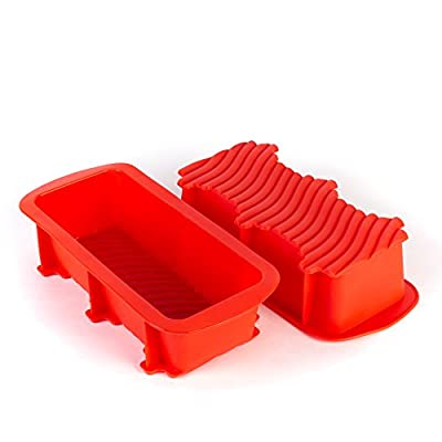 "Tosnail 10.5"" x 5"" x 2.5"" Nonstick Silicone Bread and Loaf Pan - Set of 2 Red"