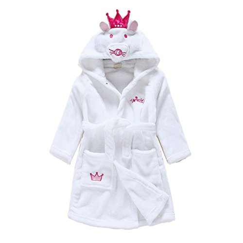 Children's Animal Princess Crown Cat Hooded Bath Robe Flannel Sleepwear-Cute Mouse Cat,beige mouse cartoon,2t(1-2 years)