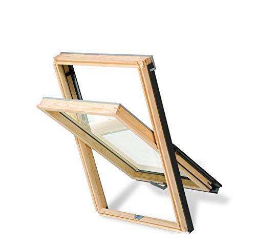 Azione. Tetto finestra basculante Roof Lite Core finestre in legno 78x 118con scossaline, altat Erra come Velux spedizione gratuita