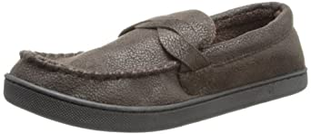 Isotoner Men's Pebble Microsuede Moccasin Slipper with Braid, Brown, X-Large/11-12