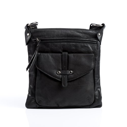 BACCINI small crossbody shoulder bag SAM for women - crafted messenger in genuine black leather (10 x 11 x 3 in.)