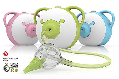 Nosiboo Aspiratore nasale adatto per bambini (elettrico, verde) - Un regalo perfetto per il baby shower!