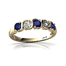 buy 14Kt Yellow Gold Lab Sapphire And Diamond 3.5Mm Round Anniversary Band Ring - Size 5.5