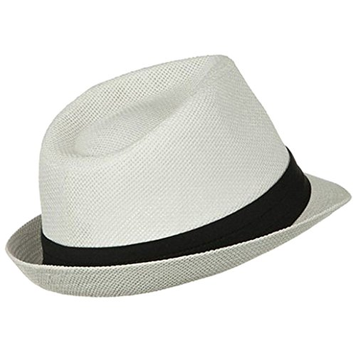 AshopZ Women Men Summer Double Colors Straw Fedora Hat w ...