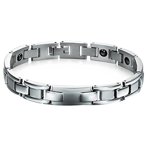Bemaystar Unisex Titanium Stainless Steel Bracelets Link Chain Wristband (Color Silver)