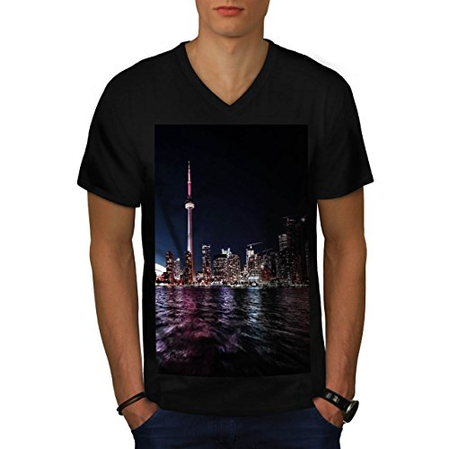 toronto-canada-town-big-city-men-new-black-l-v-neck-t-shirt-wellcoda