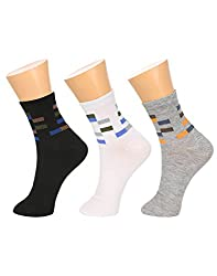 Gumber Pack of 3 Pairs of Multicoloured Solid Ankle Length Socks(GE_LONGSPORTS_3PC)