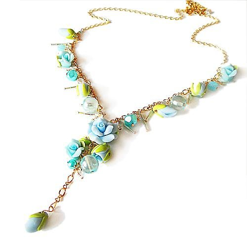 Bohemian Style Rose Clay Flower Sweet Crystal Necklace (Baby Blue with gold plated)