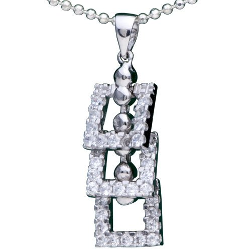 Pugster 925 Sterling Silver Three Crystal Square Pendant Necklace