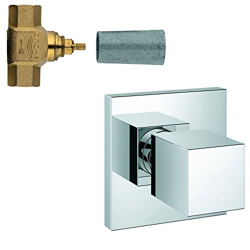 Grohe Eurocube Starlight Chrome Finish Shower Volume Control Fixture INCLUDES Modern Square Knob Handle and 3/4