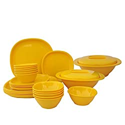 Incrizma Plastic Square Plate and Bowl Set, 28-Pieces, Yellow