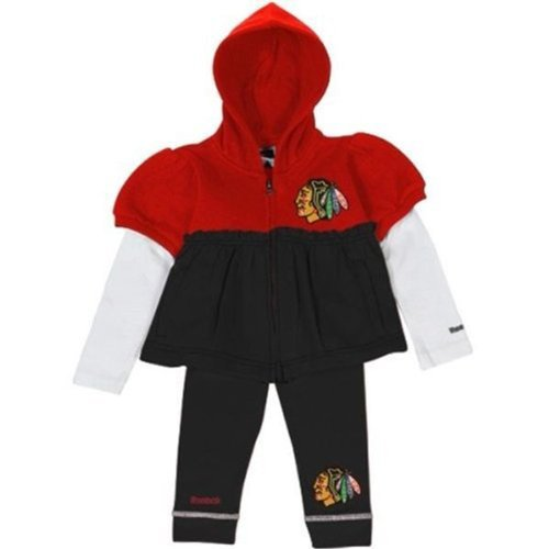 Chicago Blackhawks 2 Piece Toddler Girls Full Zip Jersey Hoodie & Pants Set (24 Months) at Amazon.com