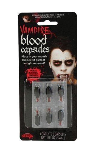 Bristol Novelty Red Blood Capsules Liquid 6/Card Make Up Men's 6 Capsules bristol