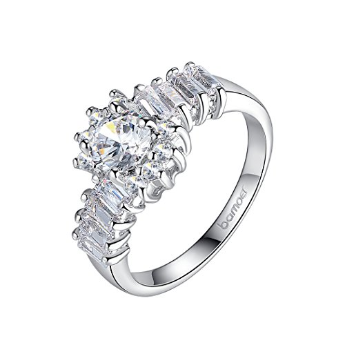 Bamoer Fashion Jewelry Love Gift Inlay Aaa Cubic Zircon White Gold Plated Promise Wedding Ring For Women Girls (7)