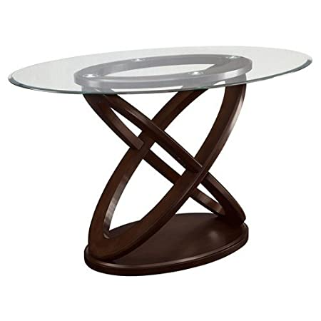 Coaster 104168 Brown Cherry Counter Height Table With Oval Glass Top