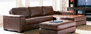 Contemporary Brown 100% Leather Sectional Sofa