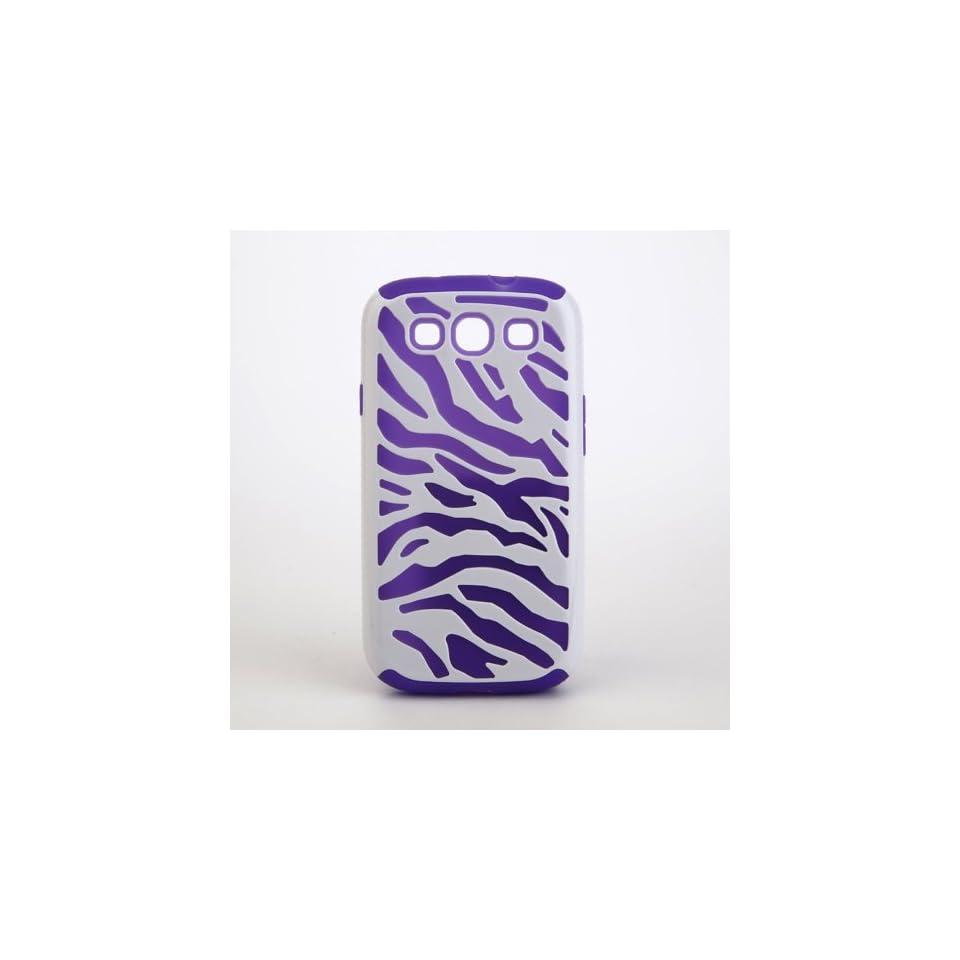 Ruichen Purple Zebra Stripes Design dual Layer Rubber Skin Cover Case For Samsung Galaxy S 3 III S3 I9300