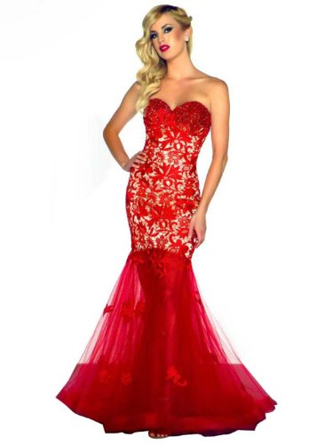 IBEAUTY DRESS Red Black Strapless Embroidery Long Evening Dress