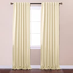 Best Home Fashion Thermal Insulated Blackout Curtains - Back Tab/ Rod Pocket - Beige - 52\