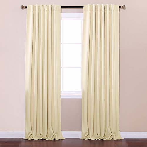 Best Home Fashion Thermal Insulated Blackout Curtains Back Tab Rod Pocket Beige 52 W X 84