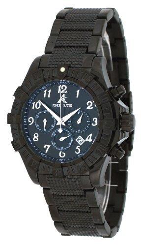 Adee Kaye #AK7140-MIPB Men's Black IP Stainless Steel Black Dial Chronograph Watch