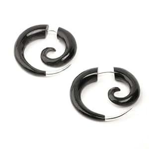 81stgeneration Large black 925 silver tribal spiral horn pair earrings