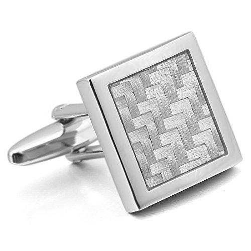 Men'S 2Pcs Rhodium Plated Carbon Fiber Cufflinks Silver White Square Shirt Wedding Business 1 Pair Set Unique