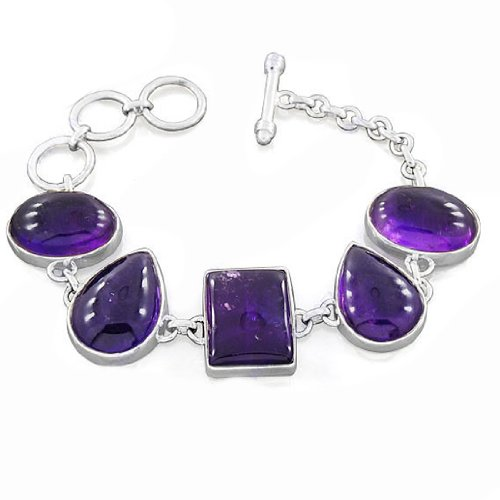 925 Sterling Silver Amethyst Designer Natural Gemstone Antique Style Costume Matching Men & Women's Bracelet 9 Inches New Design Jewelry