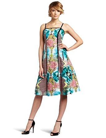 Tracy Reese Women's Side Button Spaghetti Strap Frock, Patchwork, 2